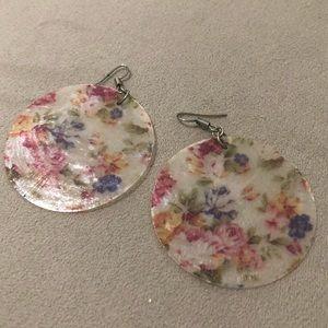 "Floral disc earrings made of shell 2"" diameter"